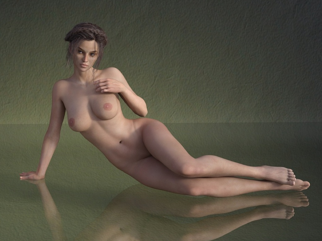 Naked woman on a mirror